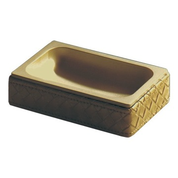 Gold Faux Leather Soap Dish