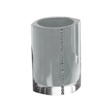 Silver Toothbrush Holder With Crystals