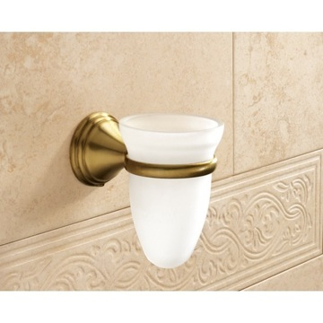 Wall Mounted Frosted Glass Toothbrush Holder With Bronze Mounting