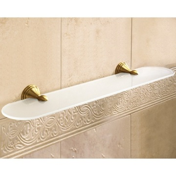 Frosted Glass Bathroom Shelf With Bronze Holder