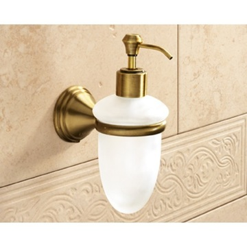 Wall Mounted Frosted Glass Soap Dispenser With Bronze Mounting