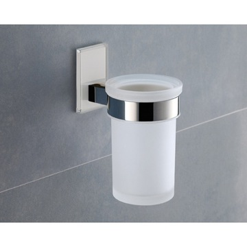 Wall Mounted Frosted Glass Toothbrush Holder With White Mounting
