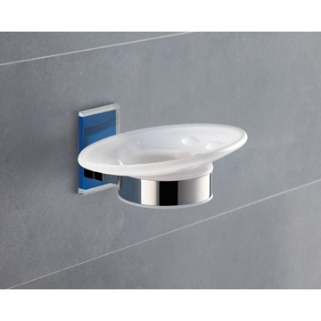 Wall Mounted Round Frosted Glass Soap Dish With Blue Mounting