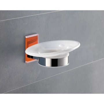 Wall Mounted Round Frosted Glass Soap Dish With Orange Mounting