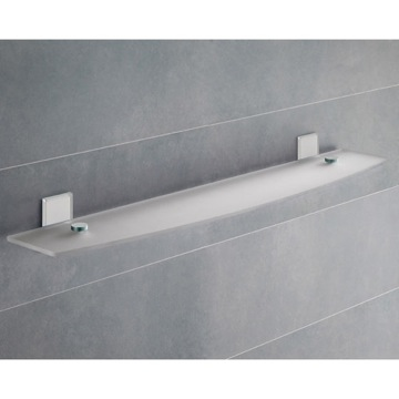 White Mounting Frosted Glass Bathroom Shelf
