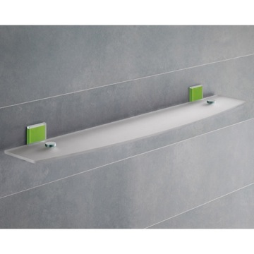 Green Mounting Frosted Glass Bathroom Shelf