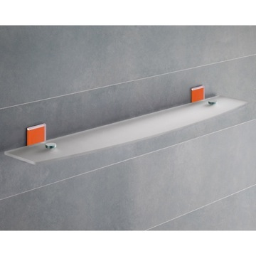 Orange Mounting Frosted Glass Bathroom Shelf