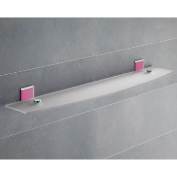 Pink Mounting Frosted Glass Bathroom Shelf