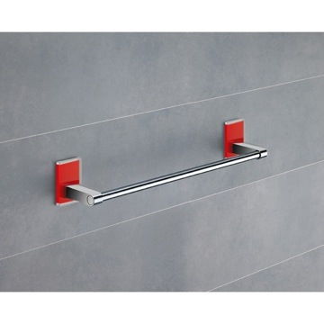 14 Inch Red Mounting Polished Chrome Towel Bar