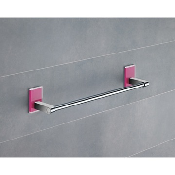 14 Inch Pink Mounting Polished Chrome Towel Bar