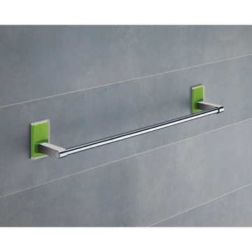 18 Inch Green Mounting Polished Chrome Towel Bar