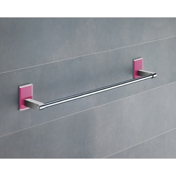 18 Inch Pink Mounting Polished Chrome Towel Bar