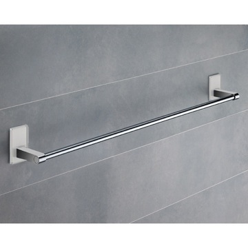 24 Inch White Mounting Polished Chrome Towel Bar