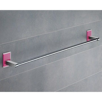 24 Inch Pink Mounting Polished Chrome Towel Bar