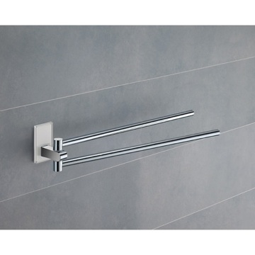 14 Inch Polished Chrome Swivel Towel Bar With White Mounting