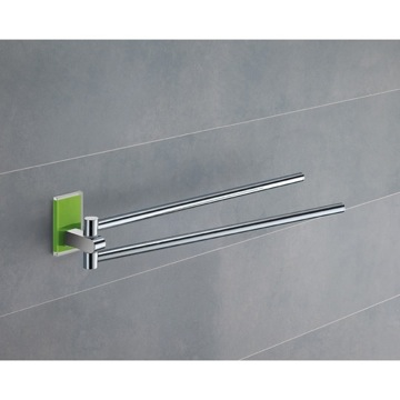 14 Inch Polished Chrome Swivel Towel Bar With Green Mounting