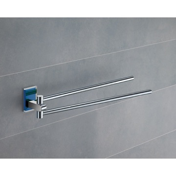 14 Inch Polished Chrome Swivel Towel Bar With Blue Mounting