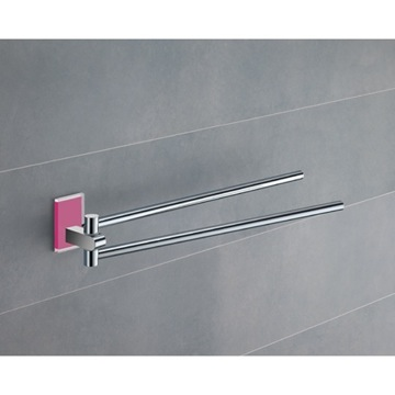 14 Inch Polished Chrome Swivel Towel Bar With Pink Mounting