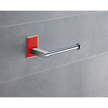 Modern Round Chrome Toilet Roll Holder With Red Mounting