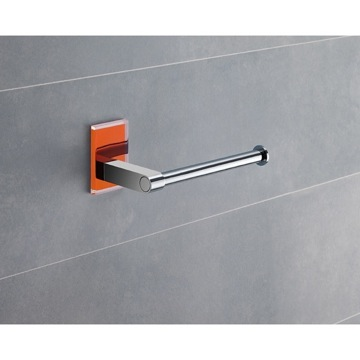 Modern Round Chrome Toilet Roll Holder With Orange Mounting