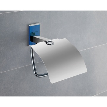 Chromed Brass Covered Toilet Roll Holder With Blue Mounting