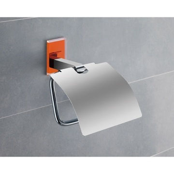 Chromed Brass Covered Toilet Roll Holder With Orange Mounting