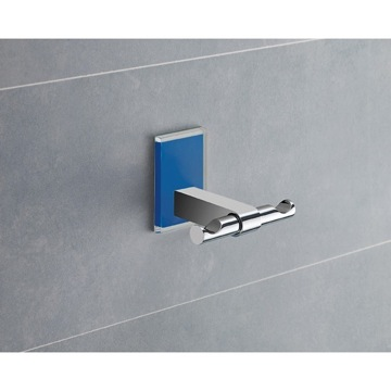 Bathroom Hook Blue Mounting Polished Chrome Double Hook 7826-05 Gedy 7826-05