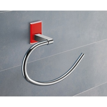 Round Red Mounting Polished Chrome Towel Ring