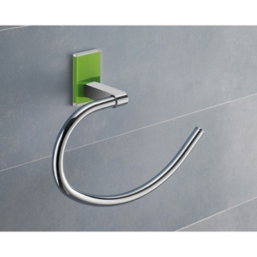 Round Green Mounting Polished Chrome Towel Ring