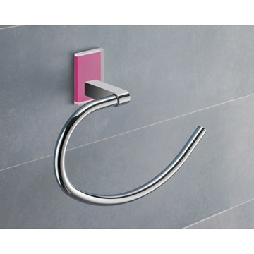 Round Pink Mounting Polished Chrome Towel Ring