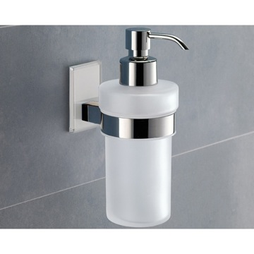 Wall Mounted Frosted Glass Soap Dispenser With Transparent Mounting
