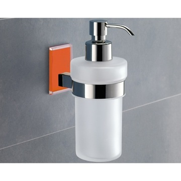 Frosted Glass Soap Dispenser With Orange Mounting