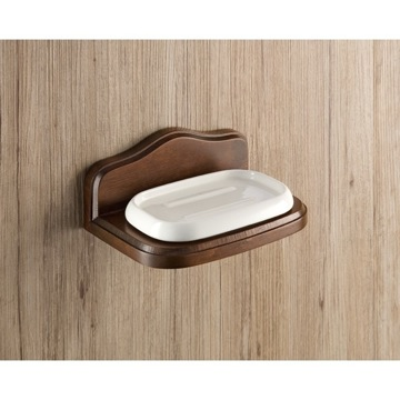 Wall Mounted Porcelain Soap Holder with Wood Base