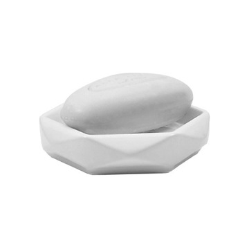 Diamond Shaped White Ceramic Soap Holder