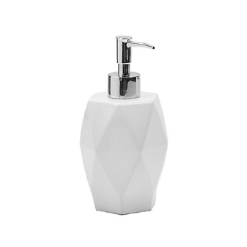 Round Diamond Shaped White Ceramic Soap Dispenser