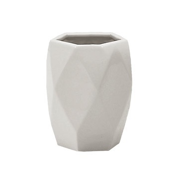 Diamond Shaped White Pottery Toothbrush Holder White