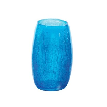 Round Blue Crackled Glass Toothbrush Holder