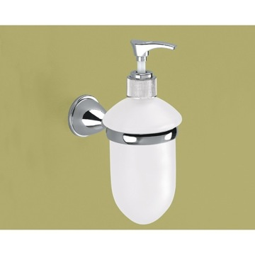 Wall Mounted Frosted Glass Soap Dispenser With Chrome Mounting