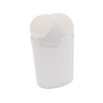 Free Standing Waste Basket With Cover in White Finish
