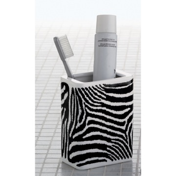 Rectangle White Black Pottery Toothbrush Holder