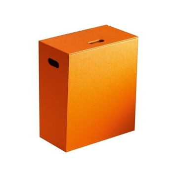 Floor Standing Orange Faux Leather Laundry Basket