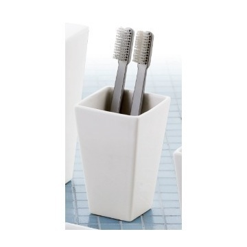 Square Matte White Toothbrush Holder