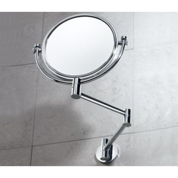 Makeup Mirror Wall Double Sided Chrome 2x Magnifying Mirror 2104-13 Gedy 2104-13