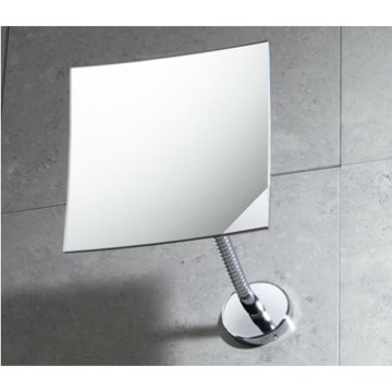 Makeup Mirror Square Wall Mounted Chrome 2x Magnifying Mirror 2111-13 Gedy 2111-13
