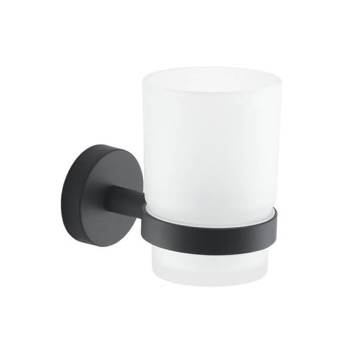 Frosted Glass Toothbrush Holder With Matte Black Wall Mount