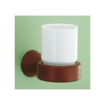 Wall Mounted Ceramic Toothbrush Holder with Mahogany Mounting