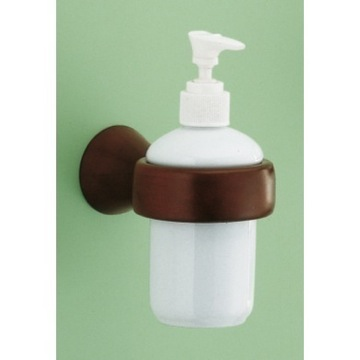Wall Mounted Ceramic Soap Dispenser with Mahogany Mounting