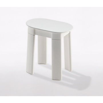 White Oval Floor Standing Bathroom Stool