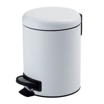 Matte White Floor Standing Stainless Steel Waste Basket