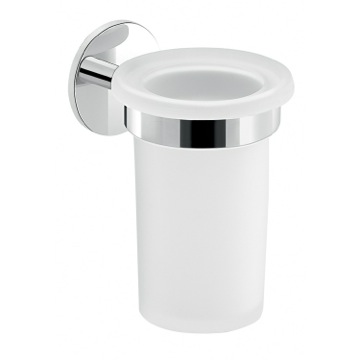 Frosted Glass Toothbrush Holder With Adhesive Chrome Mounting
